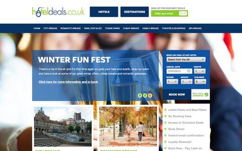 Screenshot of Home Page hoteldeals.co.uk - Cheapest UK hotel deals | Uk short and weekend breaks | UK city breaks | Uk family hotel and short break deals - captured Jan. 27, 2015