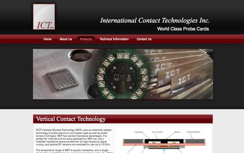 Screenshot of Products Page ict-probe.com - International Contact Technologies Inc. - captured Oct. 6, 2014