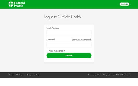 Screenshot of Login Page nuffieldhealth.com - Log in to Nuffield Health - captured Jan. 25, 2018