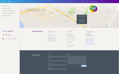 Screenshot of Contact Page trustpower.co.nz - Contact Trustpower | Enquiries | Internet, Gas, Electricity - captured Sept. 23, 2014