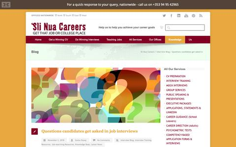 Screenshot of FAQ Page slinuacareers.com - Sli Nua Careers Questions candidates get asked in job interviews - Sli Nua Careers - captured Nov. 6, 2018