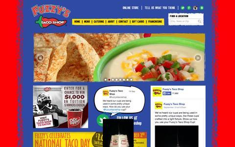 Screenshot of Home Page fuzzystacoshop.com - Fuzzy's Taco Shop - captured Sept. 23, 2014