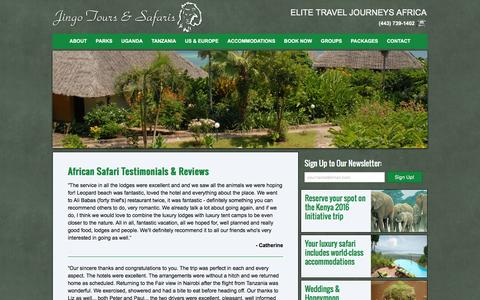Screenshot of Testimonials Page jingosafaris.com - African Safari Testimonials | Jingo Safaris & Travel - captured Feb. 11, 2016