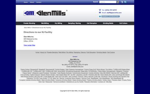 Screenshot of Maps & Directions Page glenmills.com - Directions to our NJ Facility | Glen Mills - captured Oct. 2, 2014