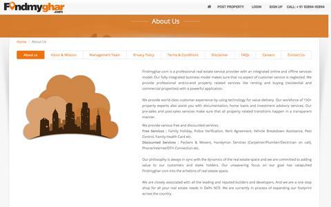 Screenshot of About Page findmyghar.com - Online Property Web Sites in India, Real Estate Website - Findmyghar.com - captured Jan. 8, 2016