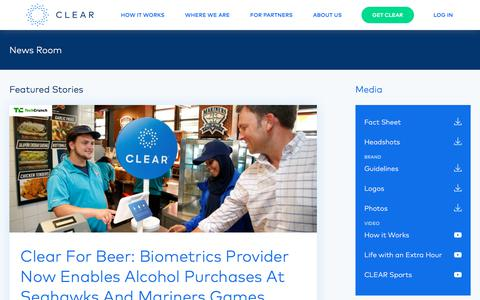 Screenshot of Press Page clearme.com - CLEAR - captured Sept. 25, 2018