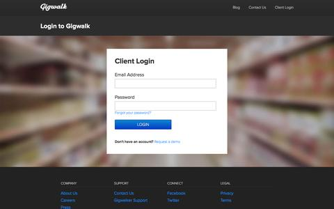 Screenshot of Login Page gigwalk.com - Gigwalk - captured Dec. 4, 2015
