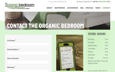 Screenshot of Contact Page theorganicbedroom.com - Contact The Organic Bedroom - captured Oct. 18, 2018