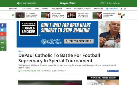 Screenshot of patch.com - DePaul Catholic To Battle For Football Supremacy In Special Tournament - Wayne, NJ Patch - captured June 15, 2017