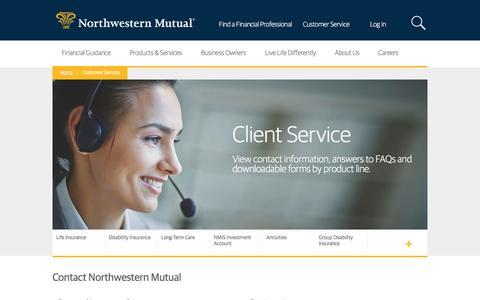 Screenshot of Support Page northwesternmutual.com - Customer Service Center | Northwestern Mutual - captured Jan. 22, 2017
