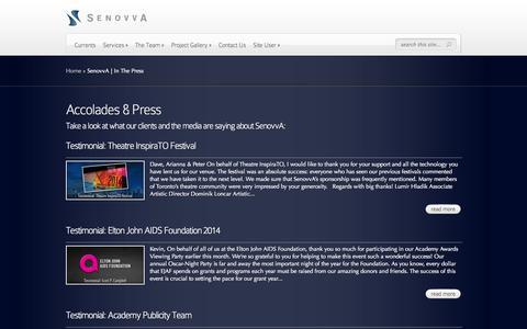 Screenshot of Press Page senovva.com - SenovvA | In The Press | SenovvA - captured Oct. 27, 2014