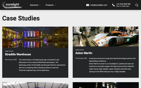 Screenshot of Case Studies Page surelight.com - Case Studies Archive - Surelight - captured Nov. 7, 2018