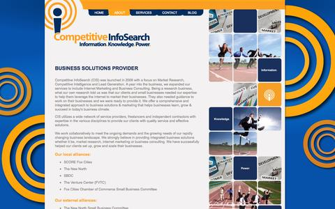 Screenshot of About Page competitiveinfosearch.com - A Unique Business Solutions provider - captured Sept. 30, 2014