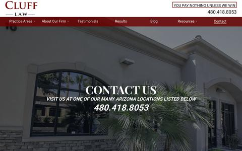 Screenshot of Contact Page clufflaw.com - Contact: Cluff Law Firm - captured Sept. 25, 2018