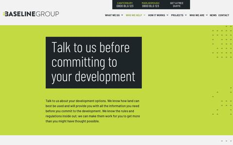 Screenshot of Developers Page blg.nz - Talk to us about your development options | Baseline Group - captured Nov. 1, 2018
