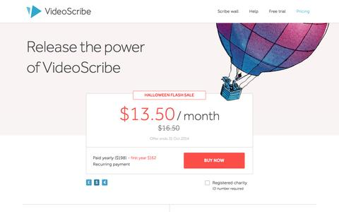 Screenshot of Pricing Page videoscribe.co - Buy | VideoScribe - captured Oct. 29, 2014
