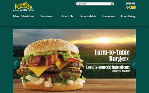 Screenshot of Home Page farmerboys.com - Farmer Boys | Breakfast, Burgers and More - captured Dec. 4, 2015