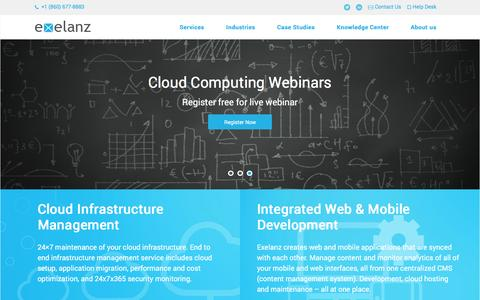 Screenshot of Home Page exelanz.com - IT department as a Service | Cloud Infrastructure Management - captured Dec. 13, 2015