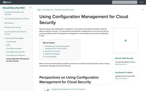 Screenshot of Team Page dome9.com - Using Configuration Management for Cloud Security - Cloud Security Wiki - Cloud Security Wiki - captured Dec. 3, 2019