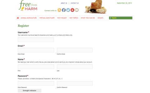 Screenshot of Signup Page freefromharm.org - Register - - captured Sept. 18, 2014