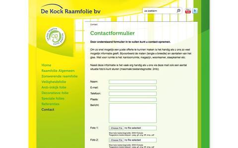 Screenshot of Contact Page dekockraamfolie.nl - Contactformulier - De Kock Glasfolie - captured Oct. 27, 2014
