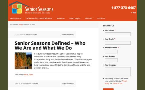 Screenshot of Press Page seniorseasons.com - News Archives - Senior Seasons - captured Aug. 16, 2016