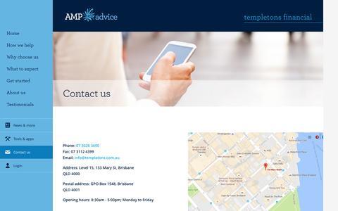 Screenshot of Contact Page amp.com.au - Contact Us - Templetons Financial - captured Dec. 16, 2016