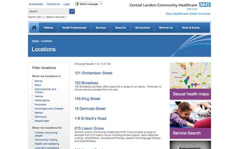 Screenshot of Locations Page clch.nhs.uk - Location & Facilties | Central London Community Healthcare NHS Trust - captured Oct. 31, 2016
