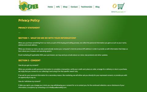 Screenshot of Privacy Page quadbarsafety.com captured May 18, 2017
