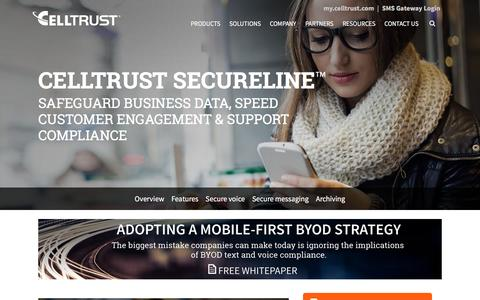 Screenshot of Products Page celltrust.com - Secure SMS Financial Compliant with SMS and Voice Archiving - CellTrust Secure Mobile Communication - captured Jan. 26, 2016