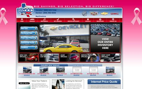 Screenshot of Home Page Services Page jameswood.com - Dallas Fort Worth Cadillac, Chevrolet, Buick, GMC, Hyundai and Isuzu Medium Duty Dealer, James Wood: New Cars, preowned car Dealership, Auto Finance, Service - captured Oct. 6, 2014