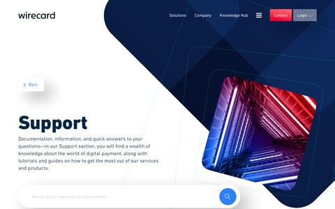 Screenshot of Support Page wirecard.com - Support | Wirecard - captured Feb. 1, 2020