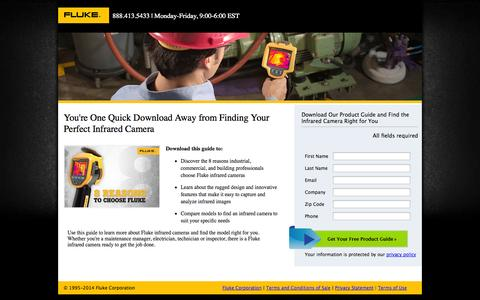 Screenshot of Landing Page fluke.com - You're One Quick Download Away from Finding Your Perfect Infrared Camera - captured Oct. 27, 2014