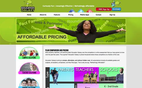Screenshot of Pricing Page educationgalaxy.com - Pricing and Comparison   Education Galaxy - captured Sept. 29, 2014
