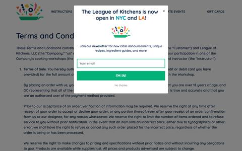 Screenshot of Terms Page leagueofkitchens.com - The League of Kitchens: Cooking Classes and Food Tours in NYC and LA - captured Oct. 18, 2018