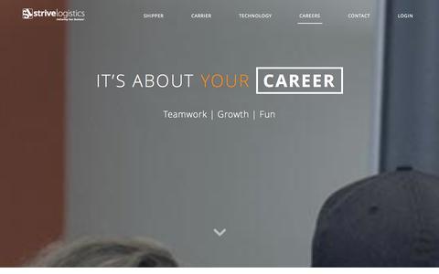 Screenshot of Jobs Page strivelogistics.com - Strive Logistics Careers | Employment With Strive Logistics - captured Oct. 9, 2014