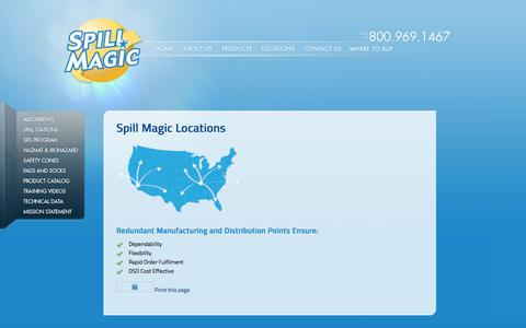 Screenshot of Locations Page spillmagic.com - Spill Magic Locations - captured Sept. 21, 2018