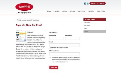Screenshot of Signup Page maxwellrealtyedmonton.ca - Register - captured Oct. 27, 2014