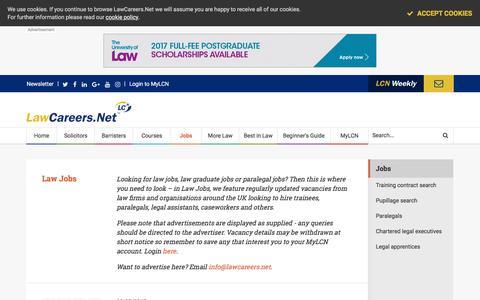 Screenshot of Jobs Page lawcareers.net - Law Jobs   Law Graduate Jobs   Paralegal Jobs - captured July 5, 2017