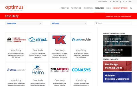 Screenshot of Case Studies Page optimusinfo.com - Case Study Archives - Optimus Information Inc - captured Sept. 23, 2018