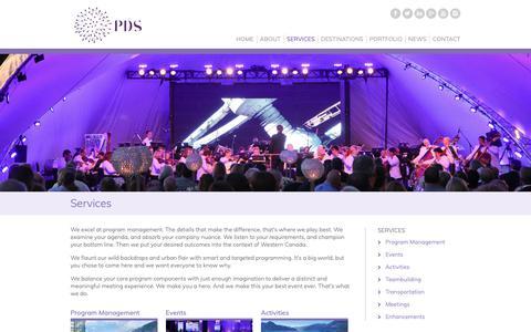 Screenshot of Services Page pacificdestinations.com - Destination Management Services & Event Planning | Pacific Destination Services - captured Nov. 9, 2018