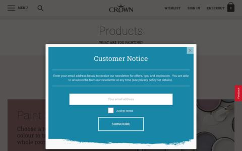 Screenshot of Products Page crownpaints.co.uk - Our paints | Crown Paints - captured Sept. 25, 2018