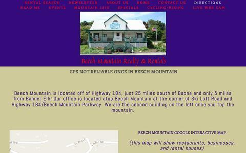 Screenshot of Maps & Directions Page mrbeech.com - DIRECTIONS — Charlie's Beech Mountain Realty & Rentals - captured June 20, 2016