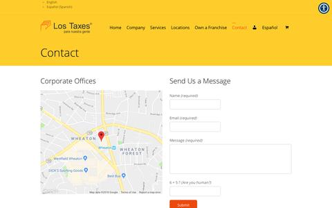 Screenshot of Contact Page lostaxes.com - Contact Los Taxes Today to get more information - captured Sept. 30, 2018