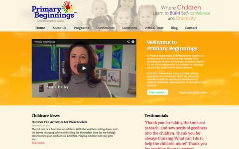 Screenshot of Home Page primarybeginnings.com - Raleigh Preschool & Child Care Center | 5-Star Preschool in Raleigh, NC - captured Oct. 3, 2014