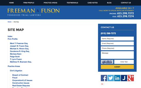 Screenshot of Site Map Page fusonlaw.com - Site Map :: Nashville, Tennessee Accident Attorney Freeman & Fuson - captured Oct. 14, 2017
