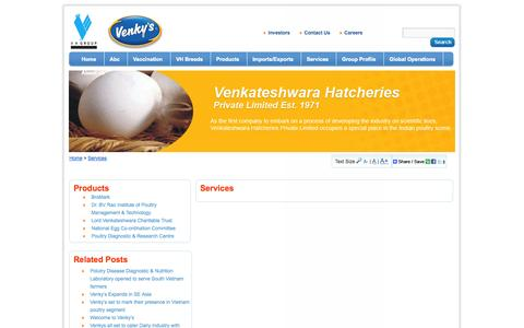 Screenshot of Services Page venkys.com - Services - captured Sept. 25, 2014