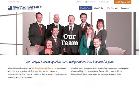 Screenshot of Team Page finsyn.com - Houston Financial Advisors | Financial Synergies Asset Management - captured Oct. 13, 2017