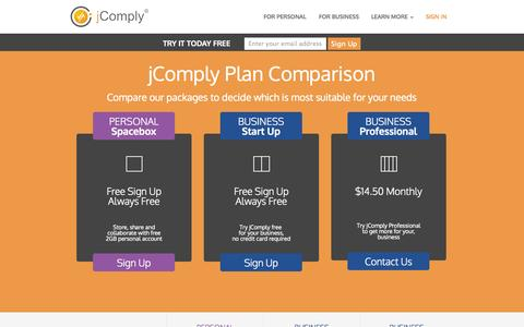 Screenshot of Pricing Page jcomply.com - jComply | Store and share personal files | Personal and Business plan comparison - captured Nov. 3, 2014
