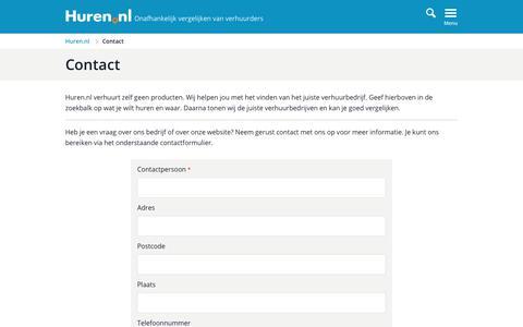 Screenshot of Contact Page huren.nl - Contact Huren.nl - captured Sept. 24, 2019